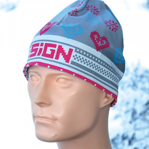 SIGN Hat S2 - Winter pink hearts